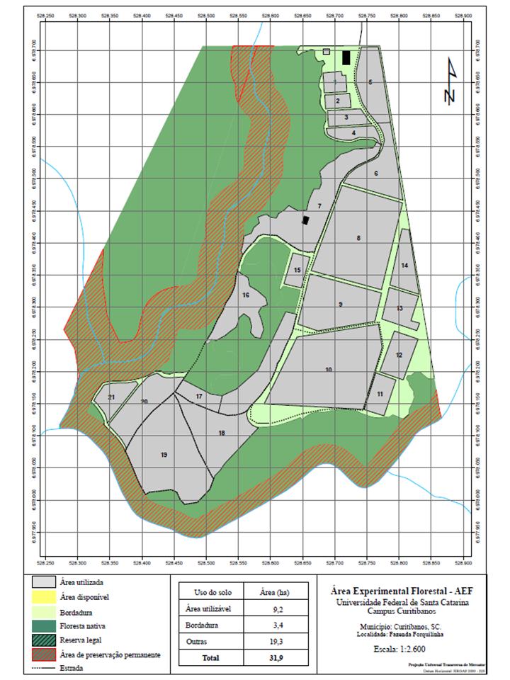Área Experimental Florestal mapa
