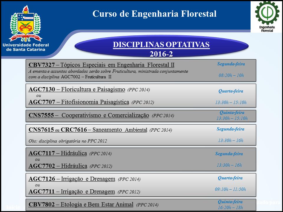 Disciplinas optativas 2016-2 - Eng. Florestal